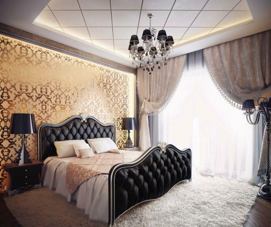 Золотые обои в интерьере спальни