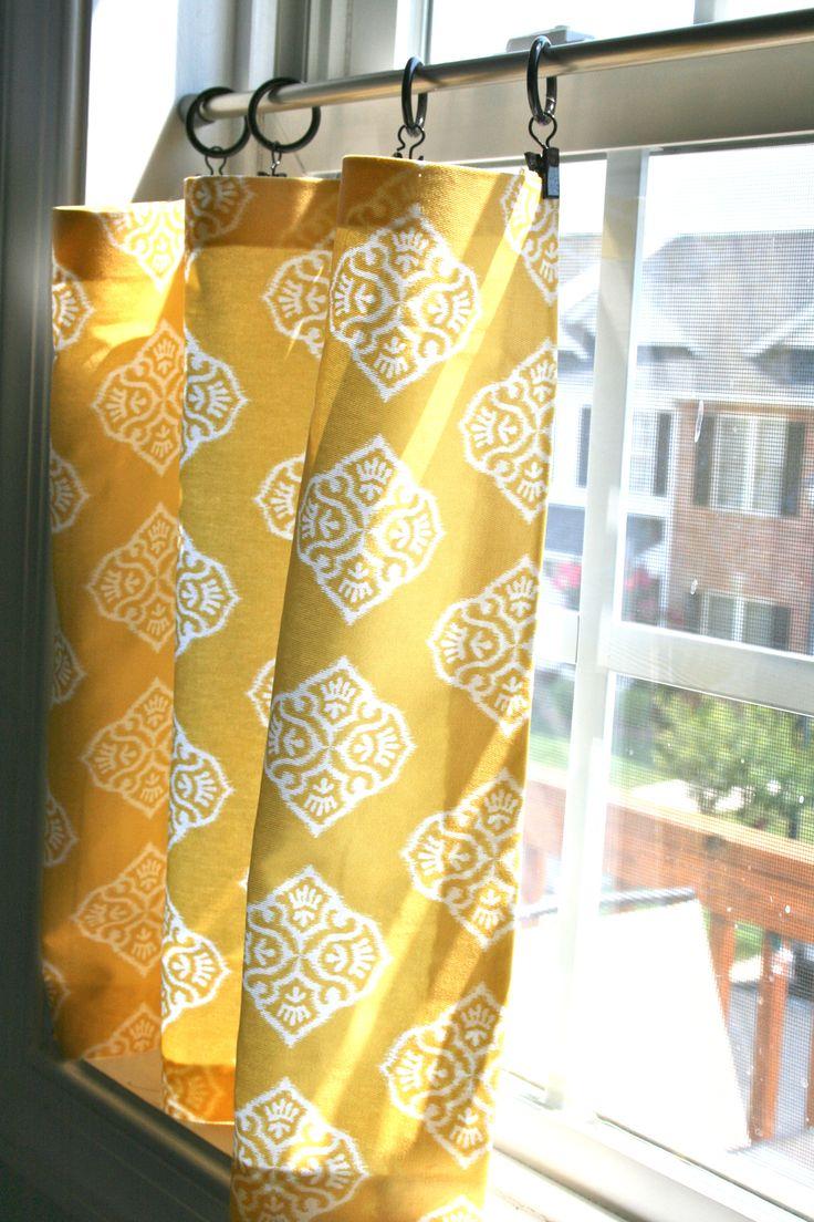 Желтые шторы в стиле кафе