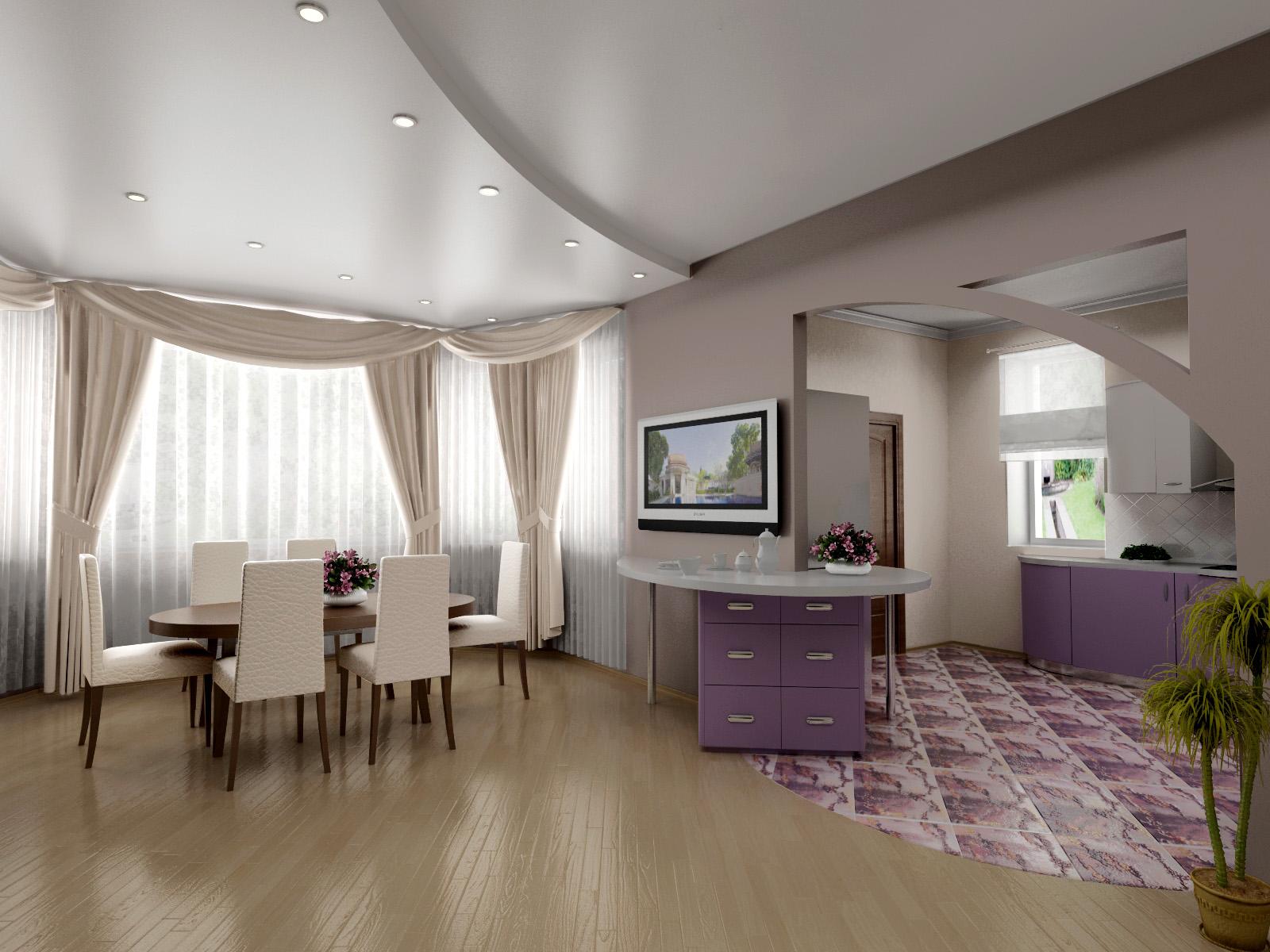 Сатиновый комбинированный потолок в интерьере