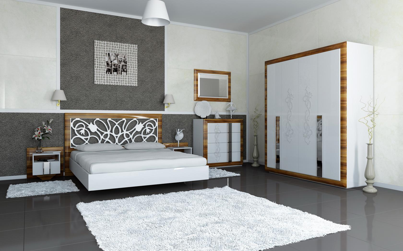 Глянцевая спальня с комодом