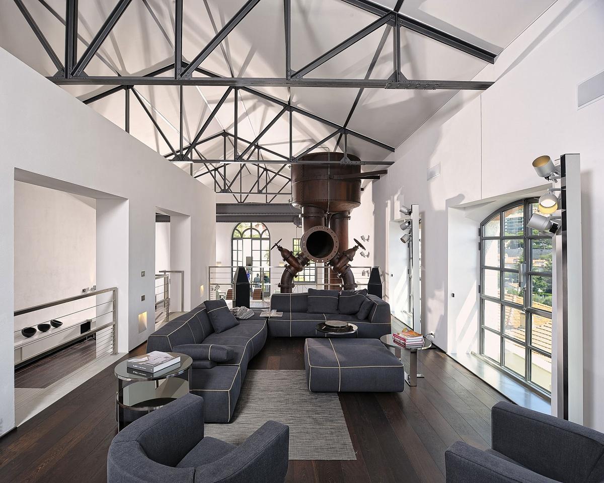 Декоративные конструкции на потолке в стиле лофт