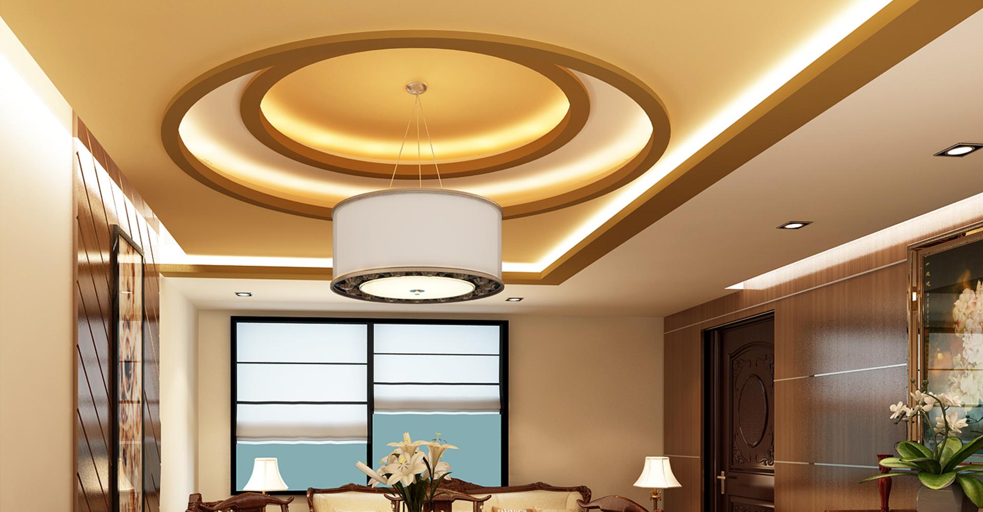 Коричневый фигурный потолок