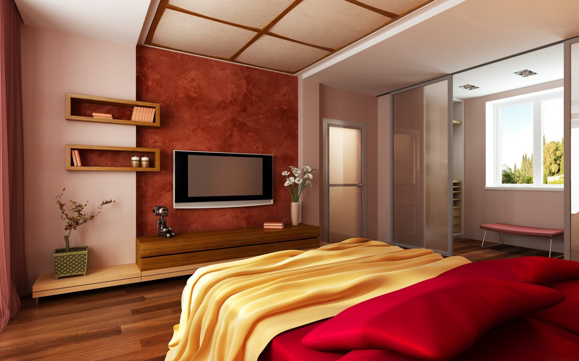 Красный цвет в спальне по фэн-шуй