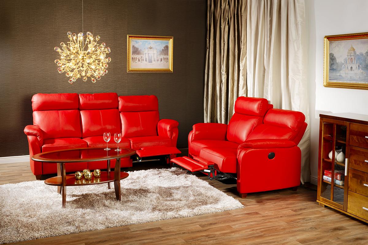 Красный диван реклайнер из экокожи