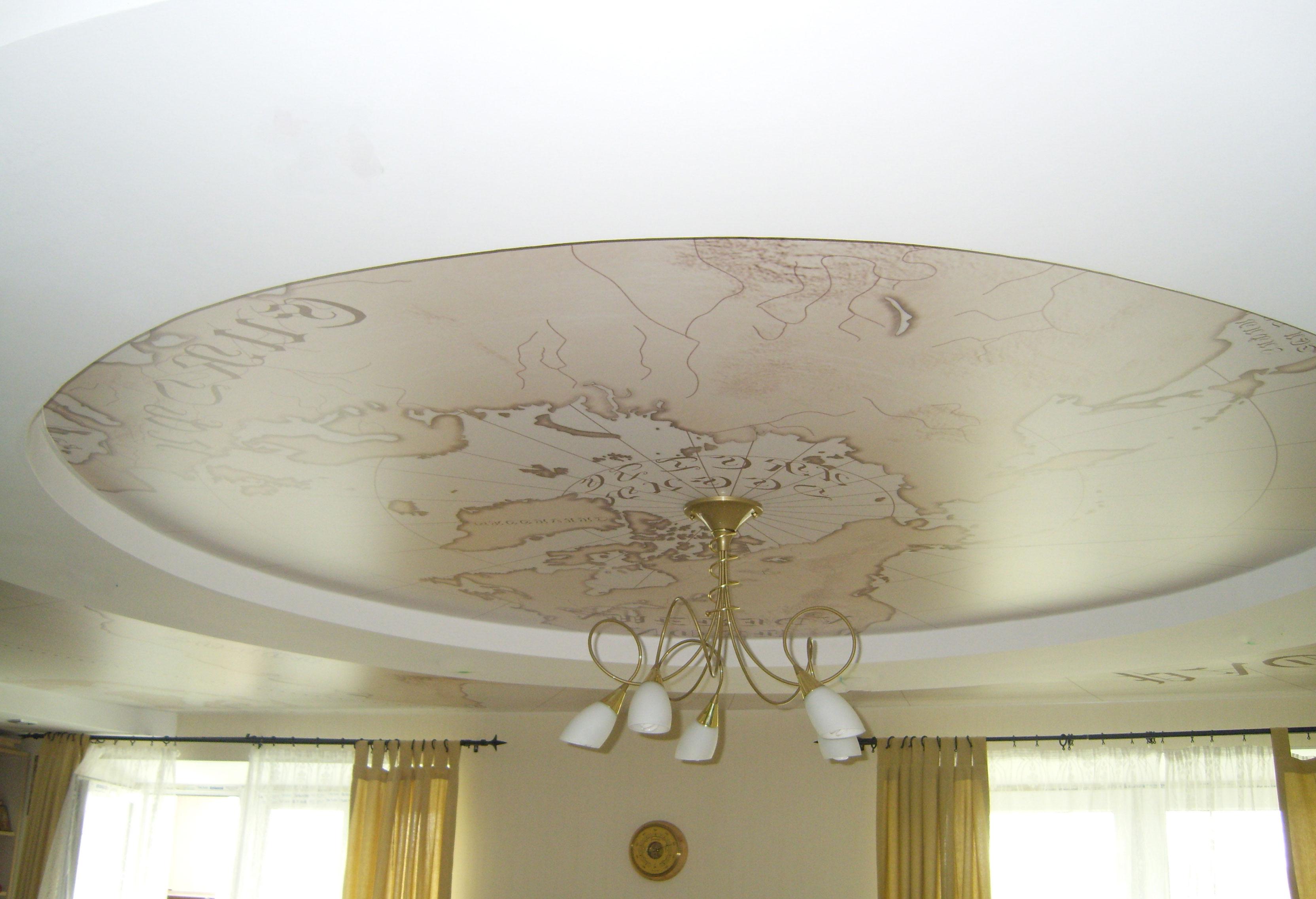 Натяжной круглый потолок с фотопечатью