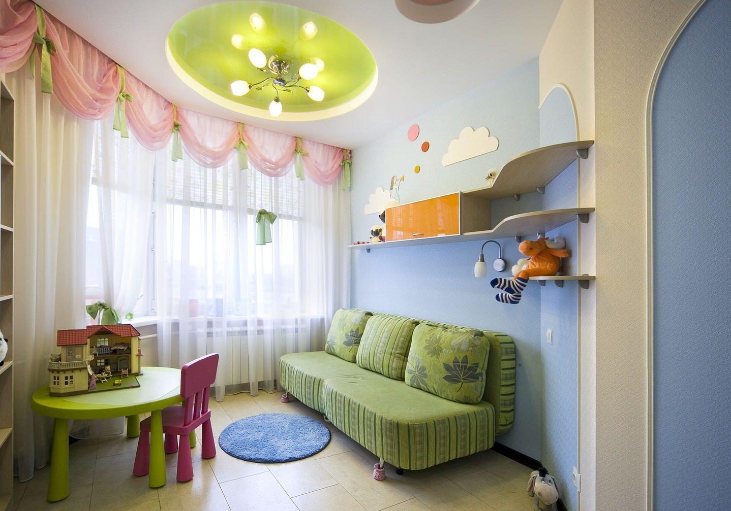 Круглый потолок в детской для девочки