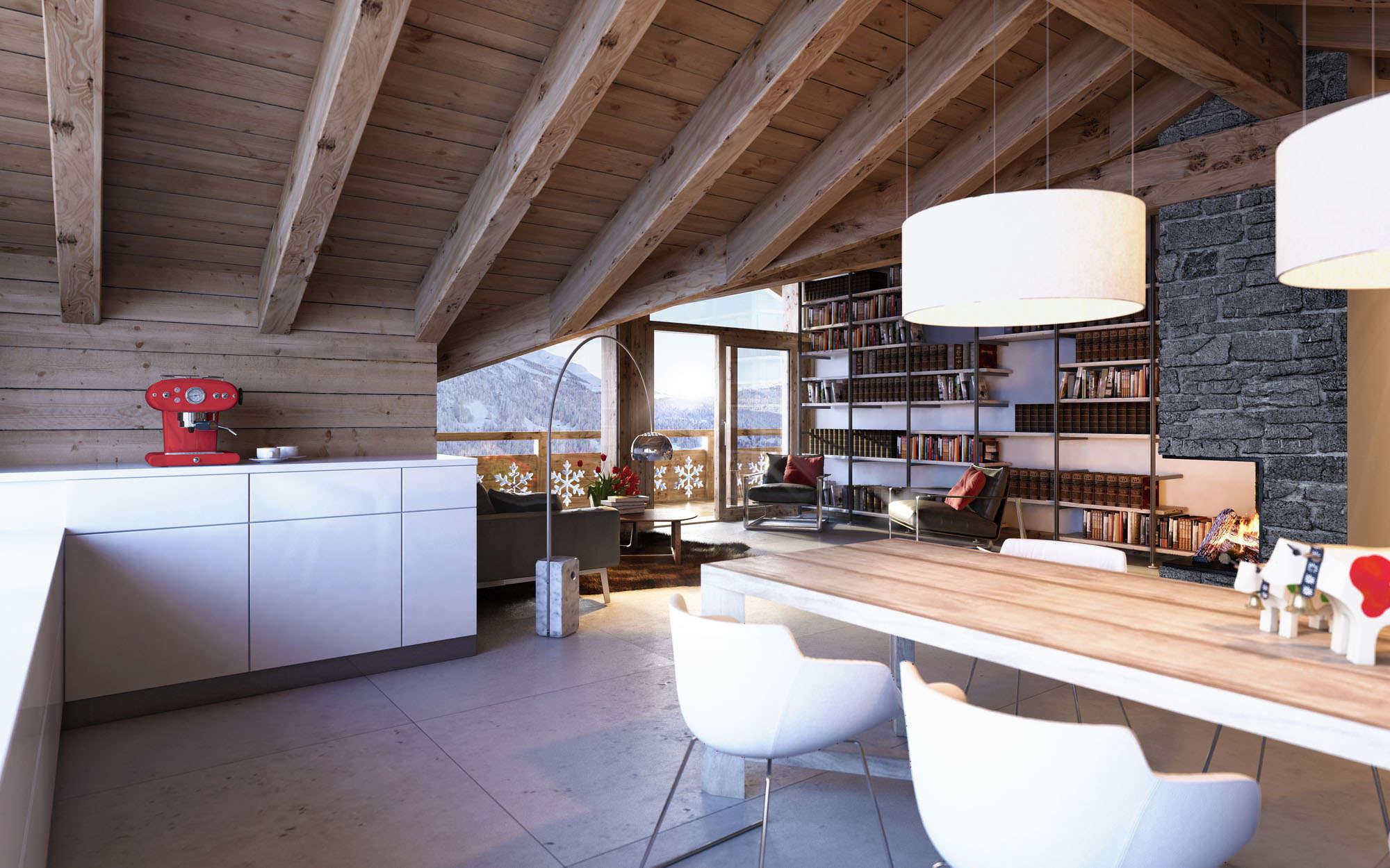 Оформление потолка на даче на кухне