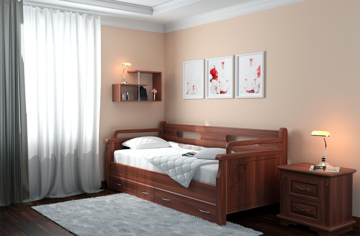 Ламинированная кровать тахта