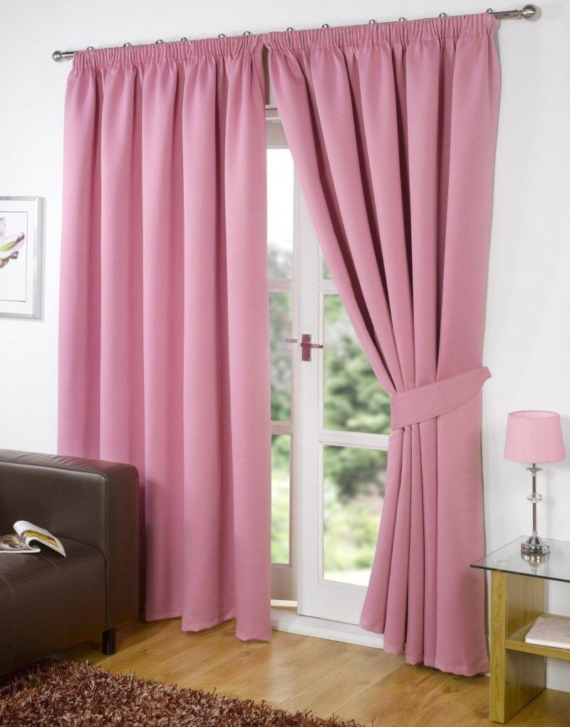 Розовые шторы на ленте