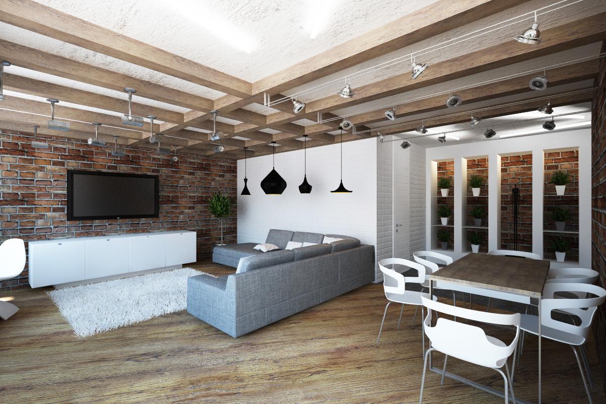 Потолок 2018 в стиле лофт