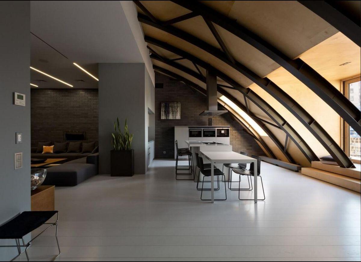 Мансардный потолок в стиле лофт