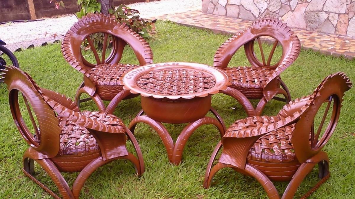 Мебель из шин для сада