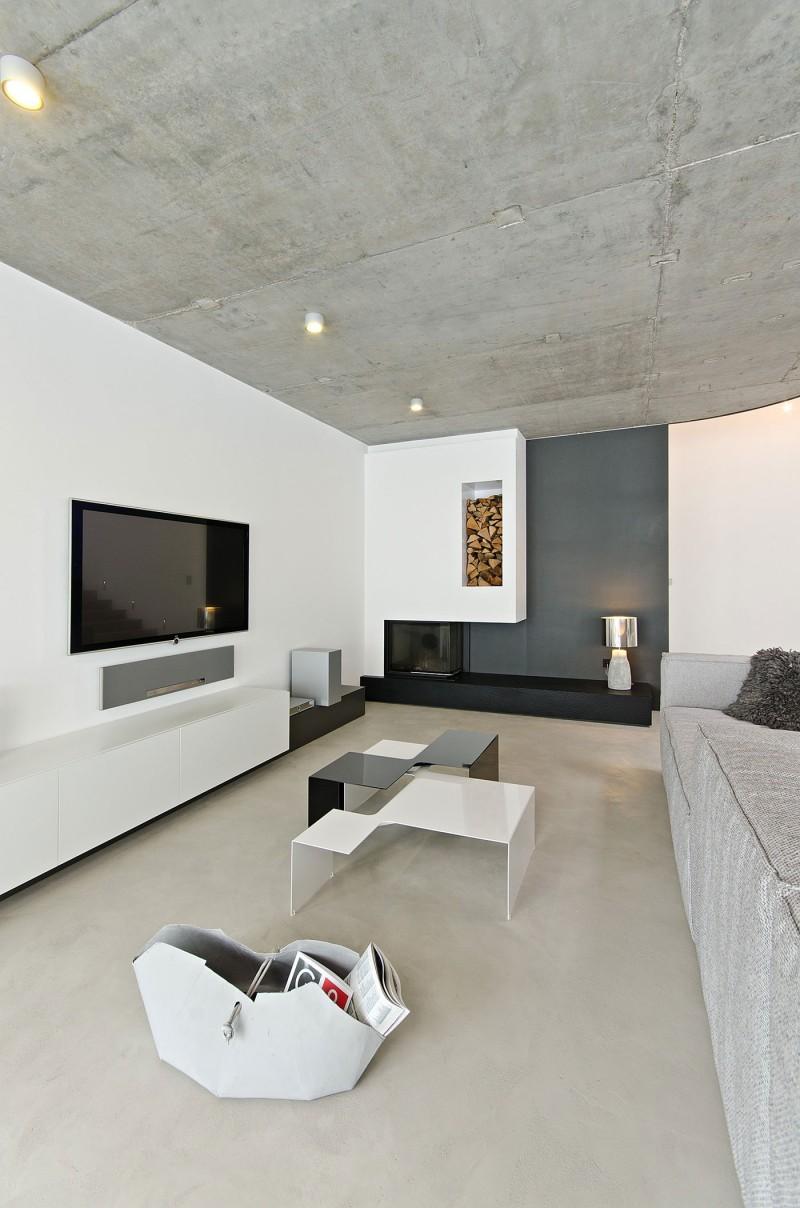 Бетонный потолок в стиле минимализм