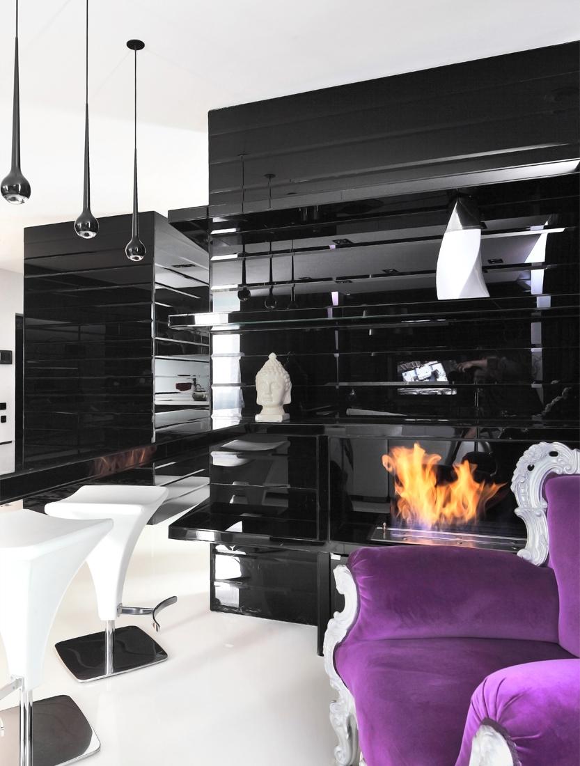 Глянцевая мебель в стиле модерн в гостиной