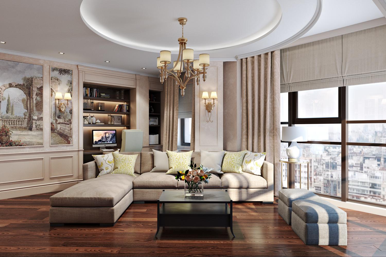 Круглый потолок в стиле модерн