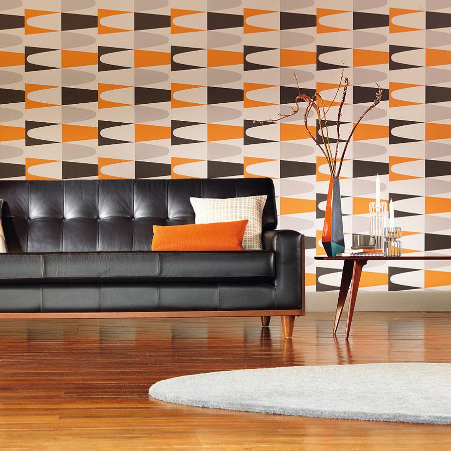 Оранжевые обои в стиле модерн