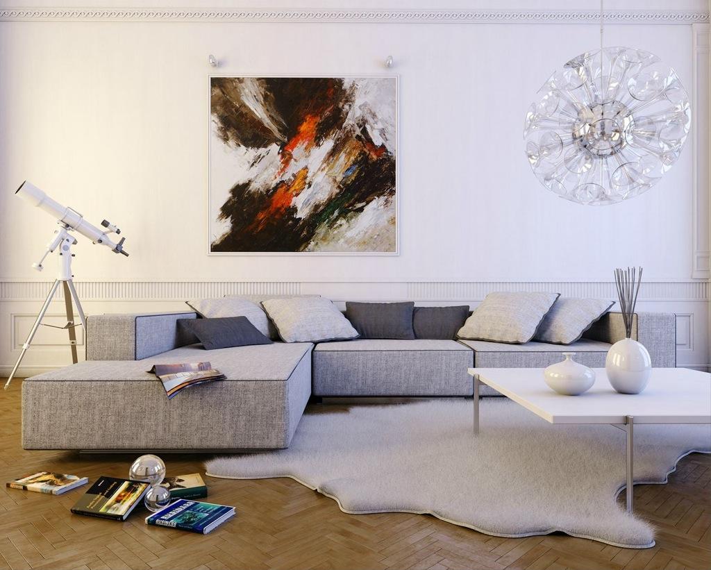 Серый диван в стиле модерн