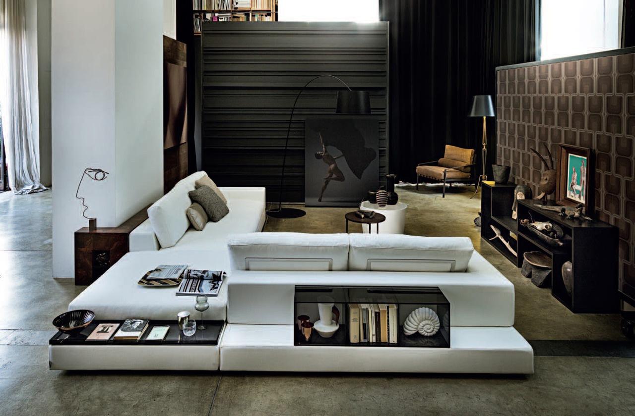Модульный диван с полками