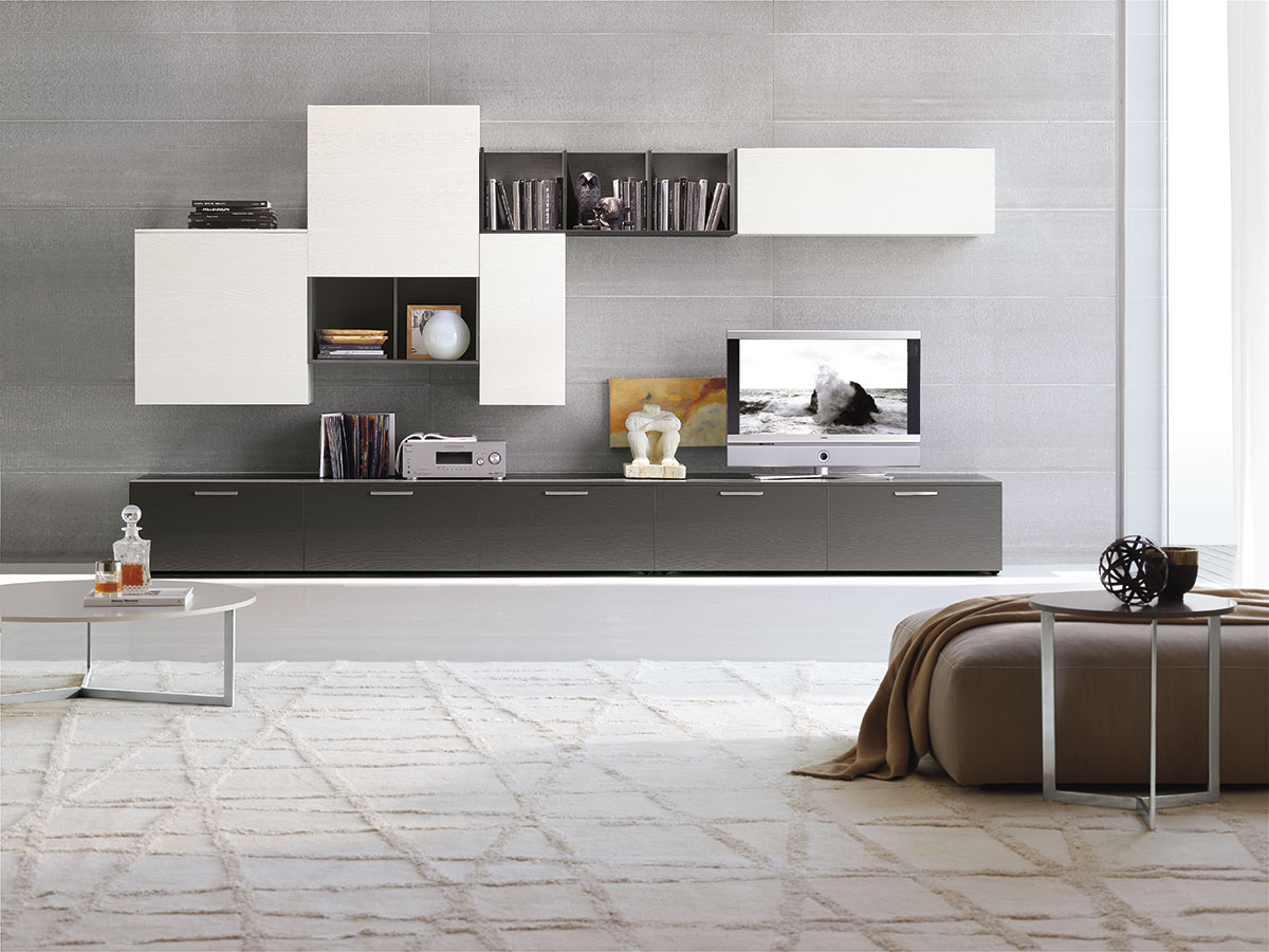 Модульная глянцевая мебель в гостиной