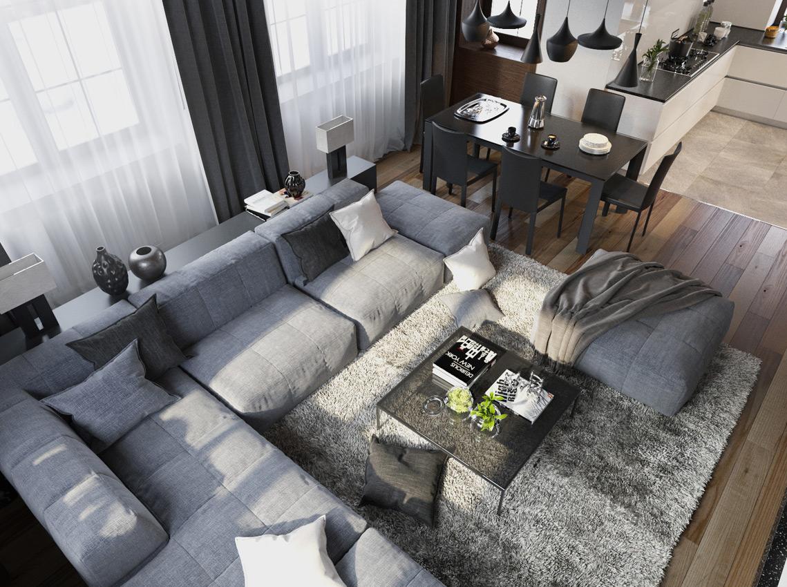 Серый модульный диван