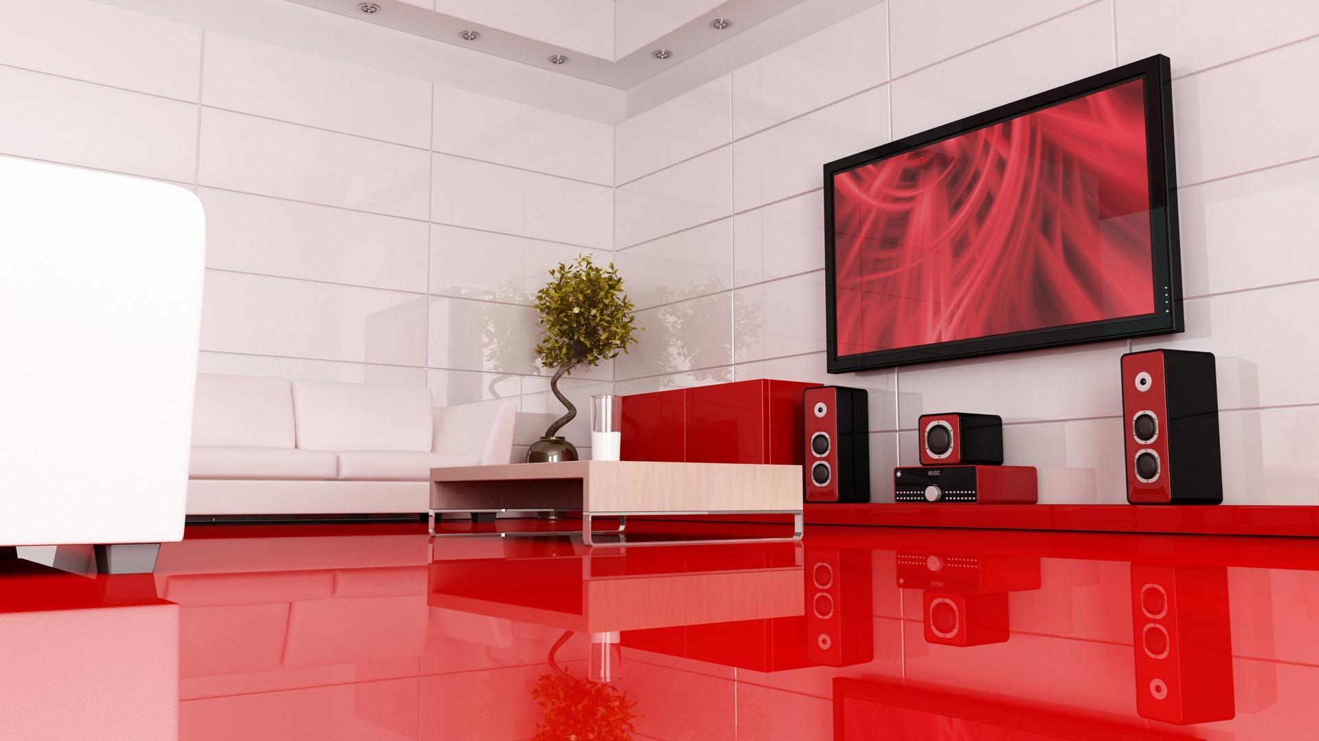 Наливной глянцевый пол в гостиной