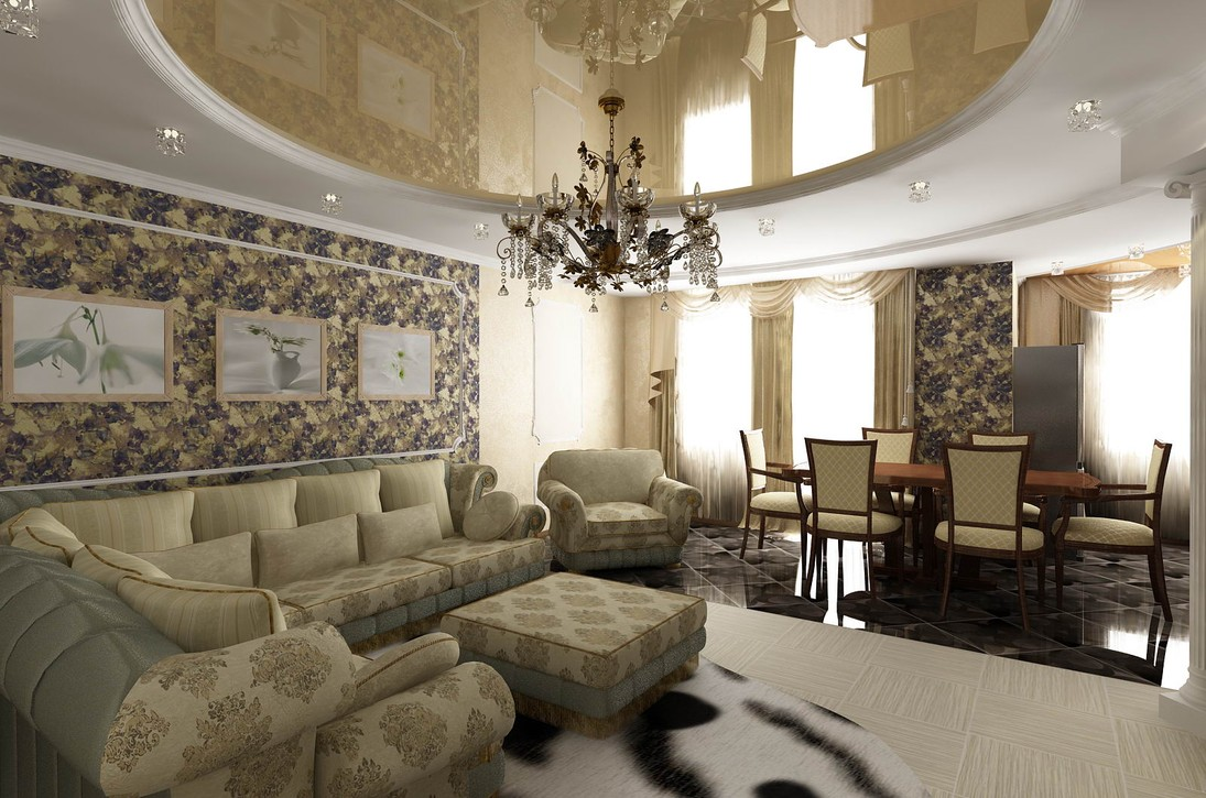 Натяжной классический потолок