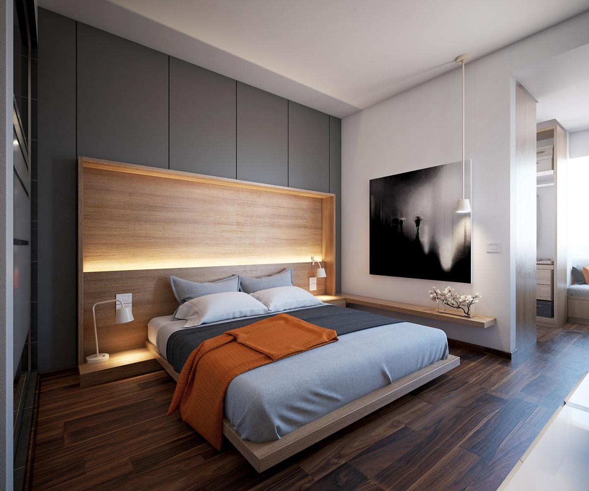 Серая спальня с нишей