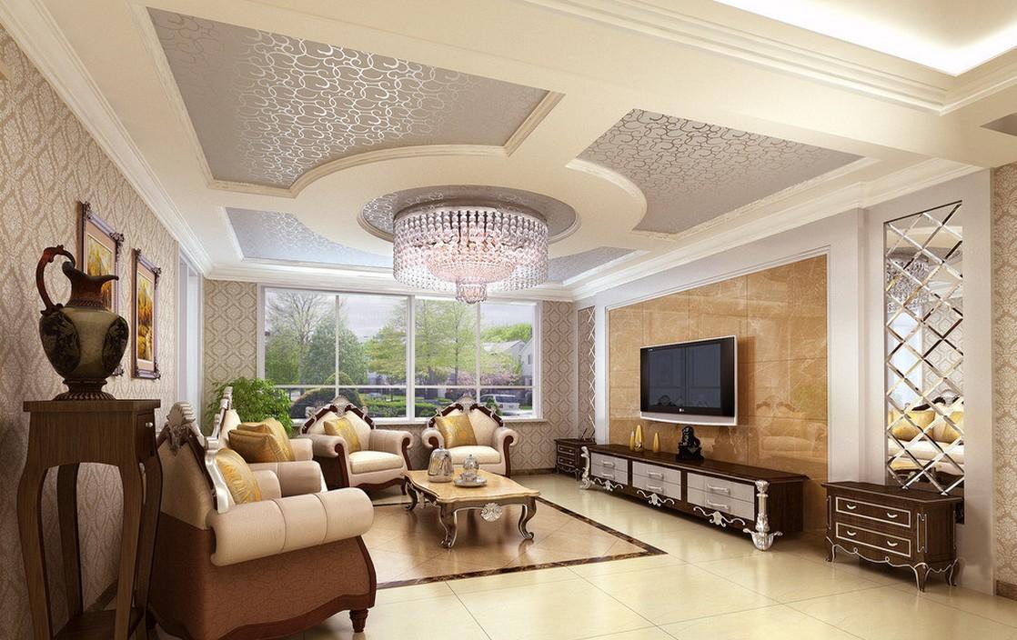 Обои на потолке в классическом стиле