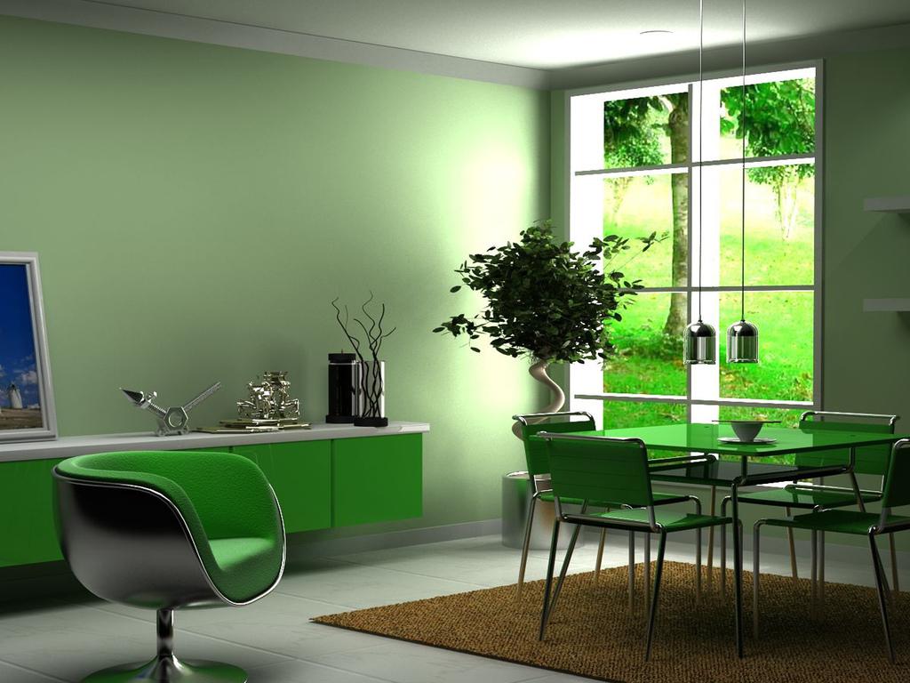 Зеленые однотонные обои