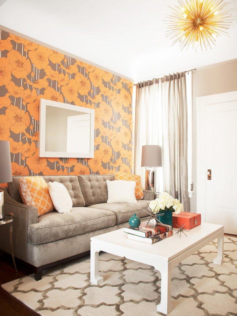 Оранжевые обои с рисунком