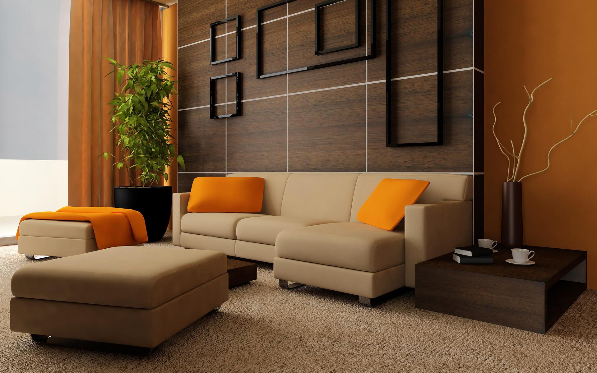 Панели цвета венге в гостиной