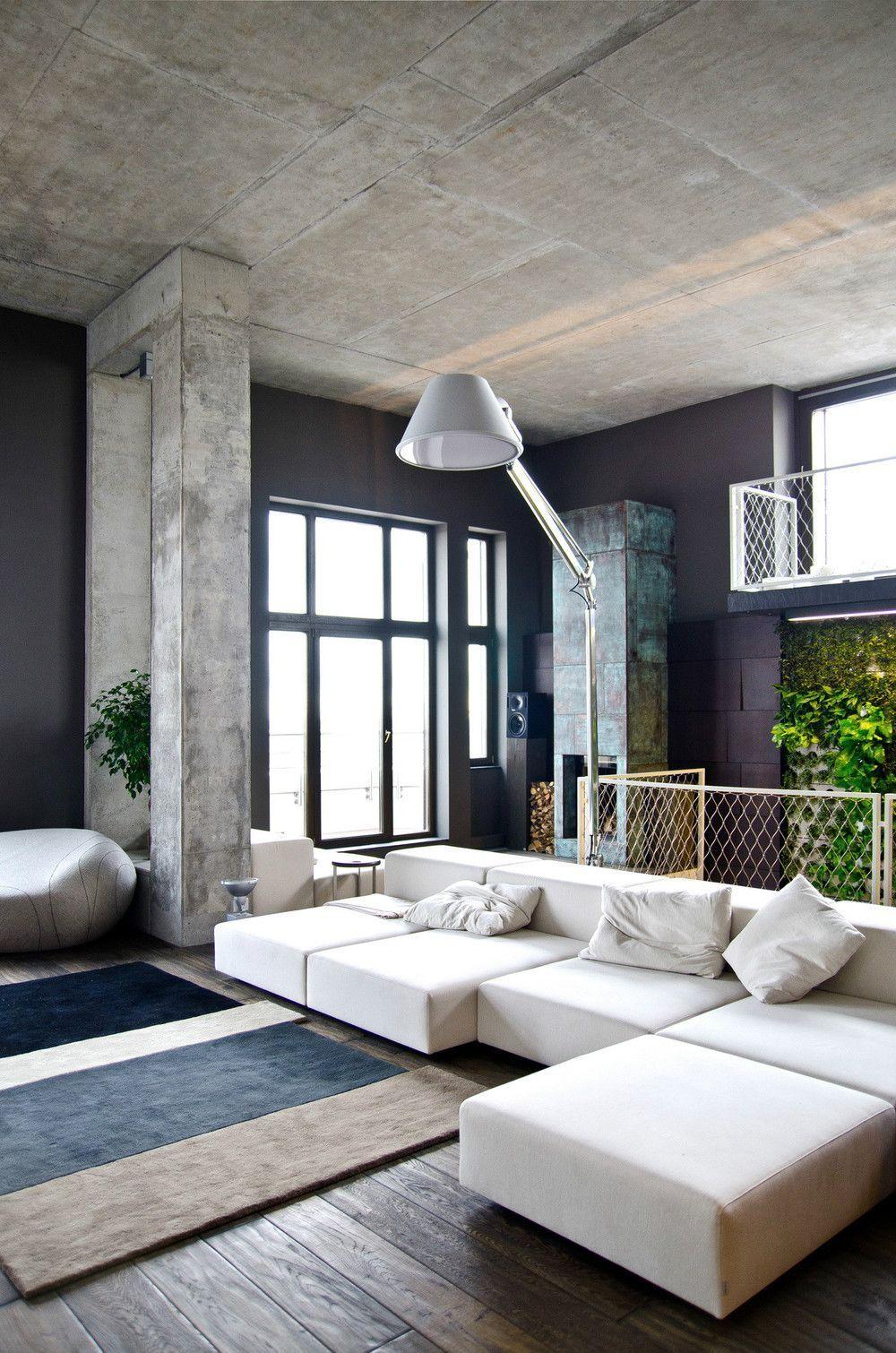 Потолок из бетонных плит в стиле лофт