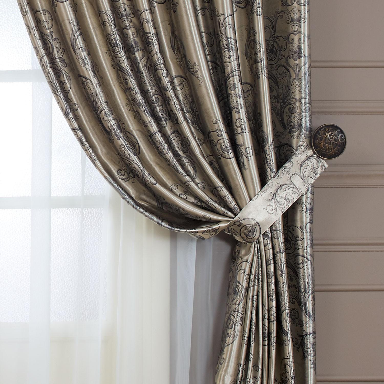 Серые шторы с подхватом