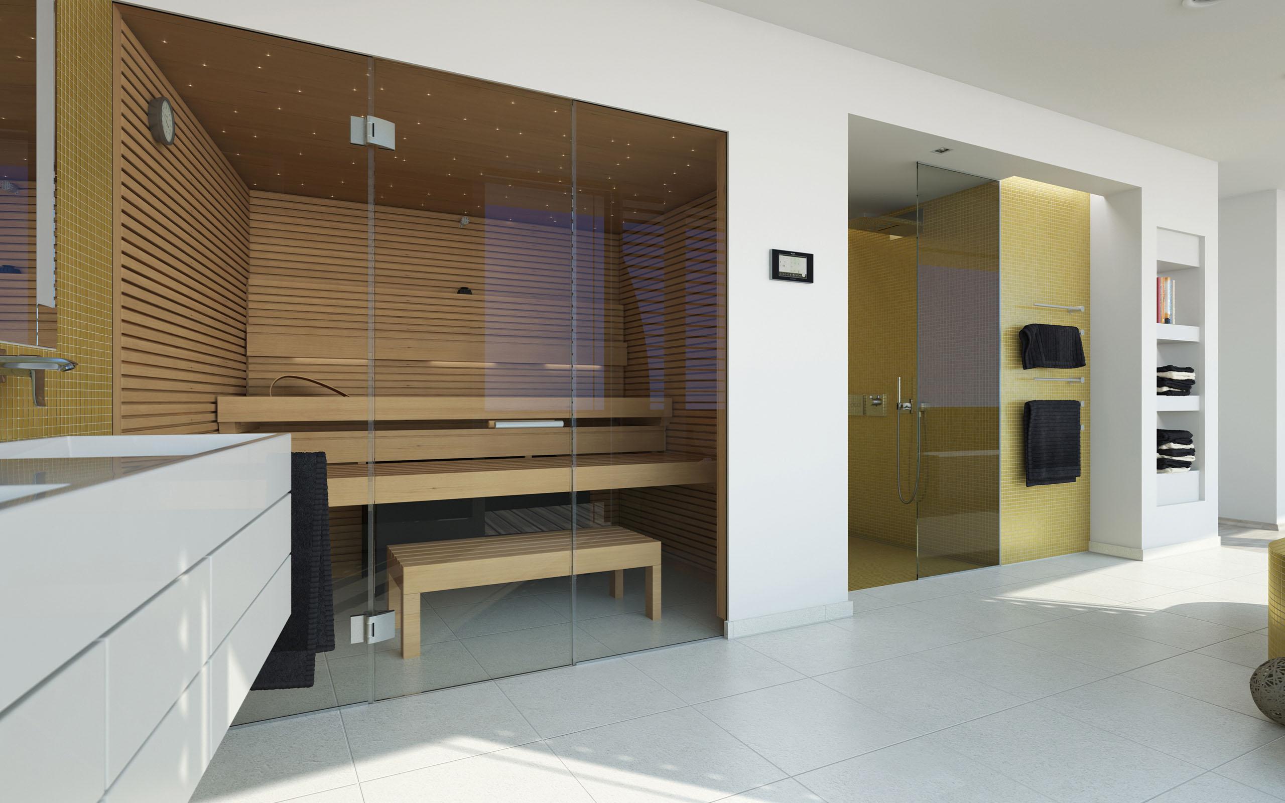 Стеклянная подвесная дверь для сауны