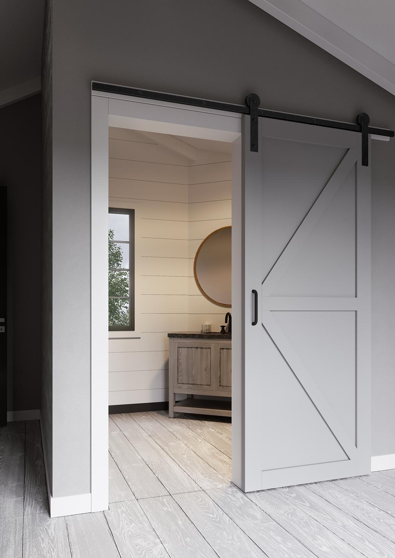 Серая подвесная дверь