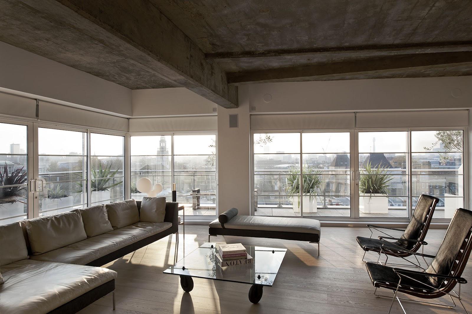 Бетонные потолочные конструкции в интерьере