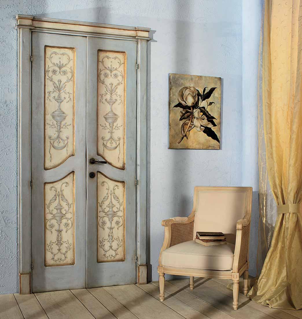 Дверь для дачи с росписью в стиле прованс