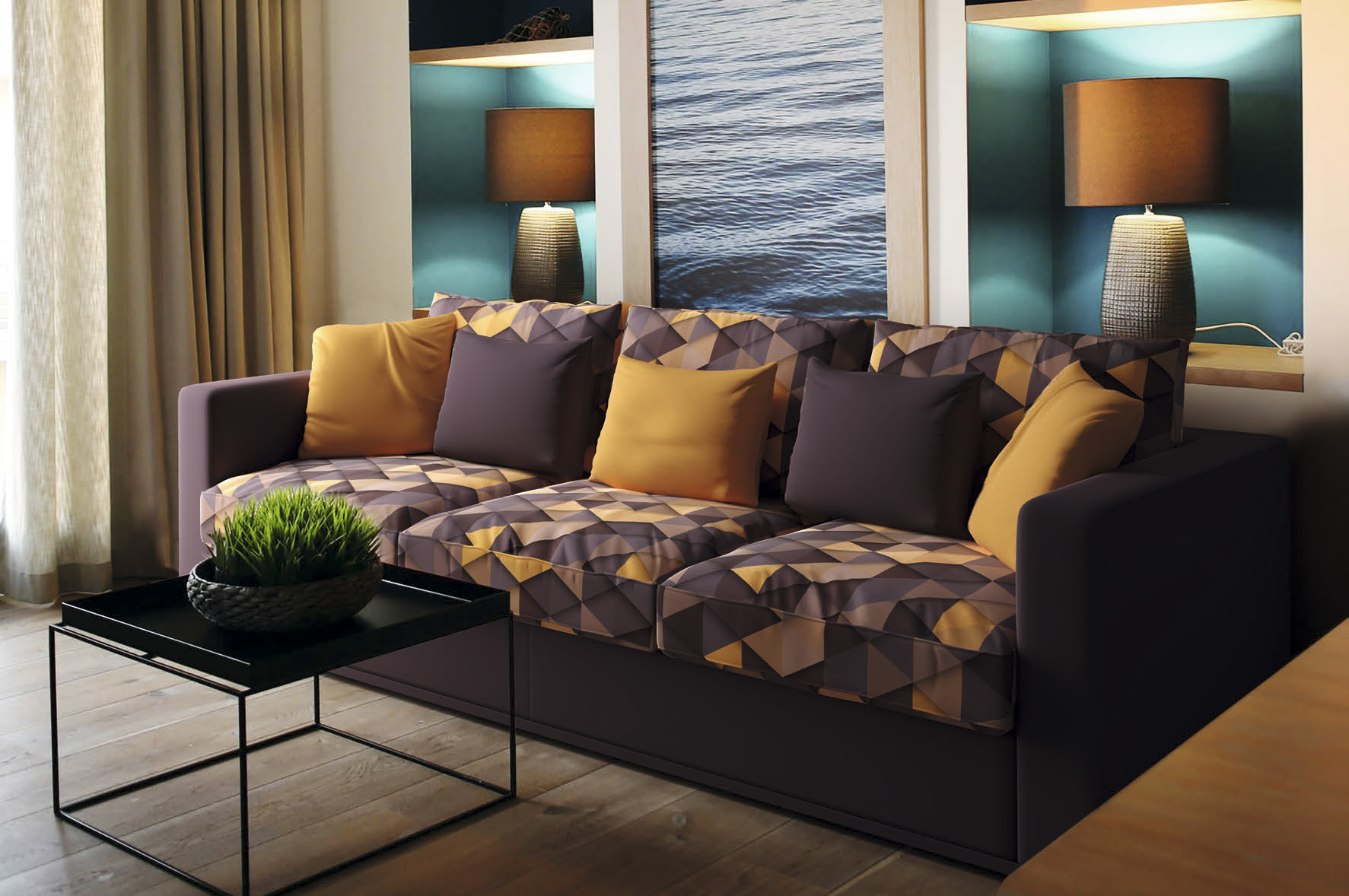 Перетяжка дивана тканью с рисунком