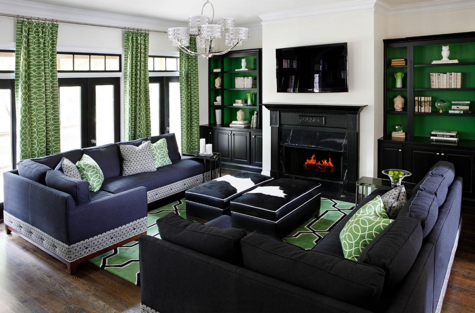 Зеленые шторы с рисунком