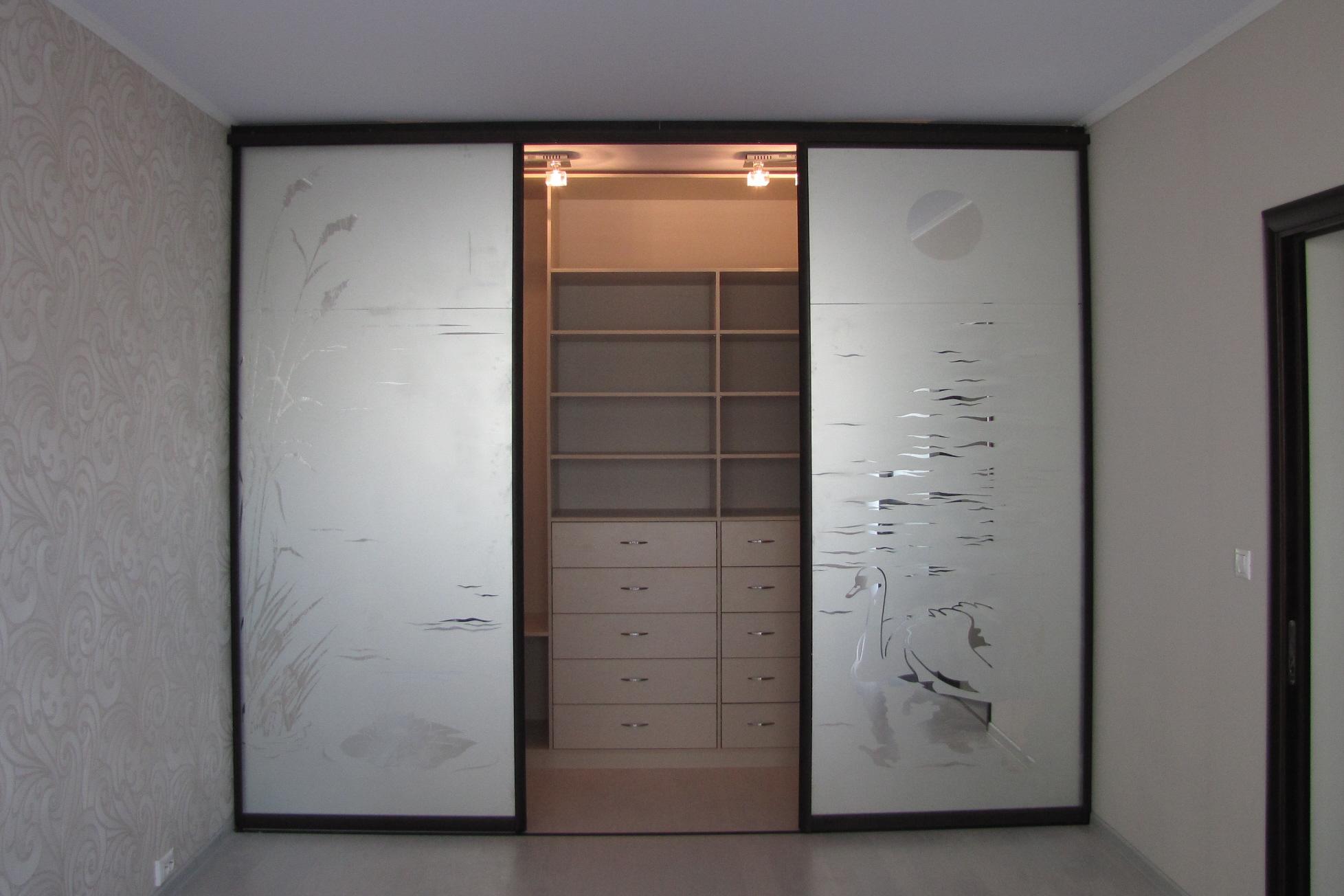 Стеклянные двери с рисунком в гардеробную