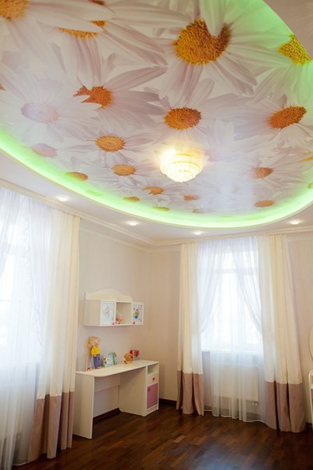 Натяжной потолок с фотопечатью ромашек