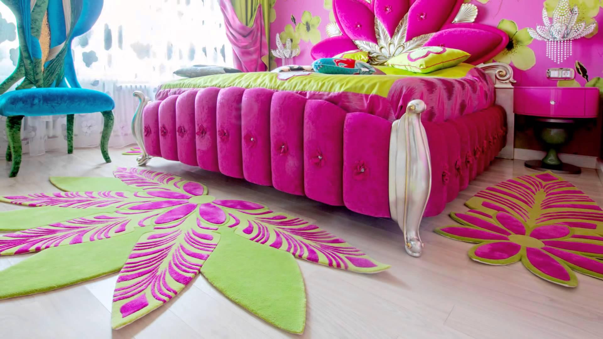 Розовый ковер в спальню