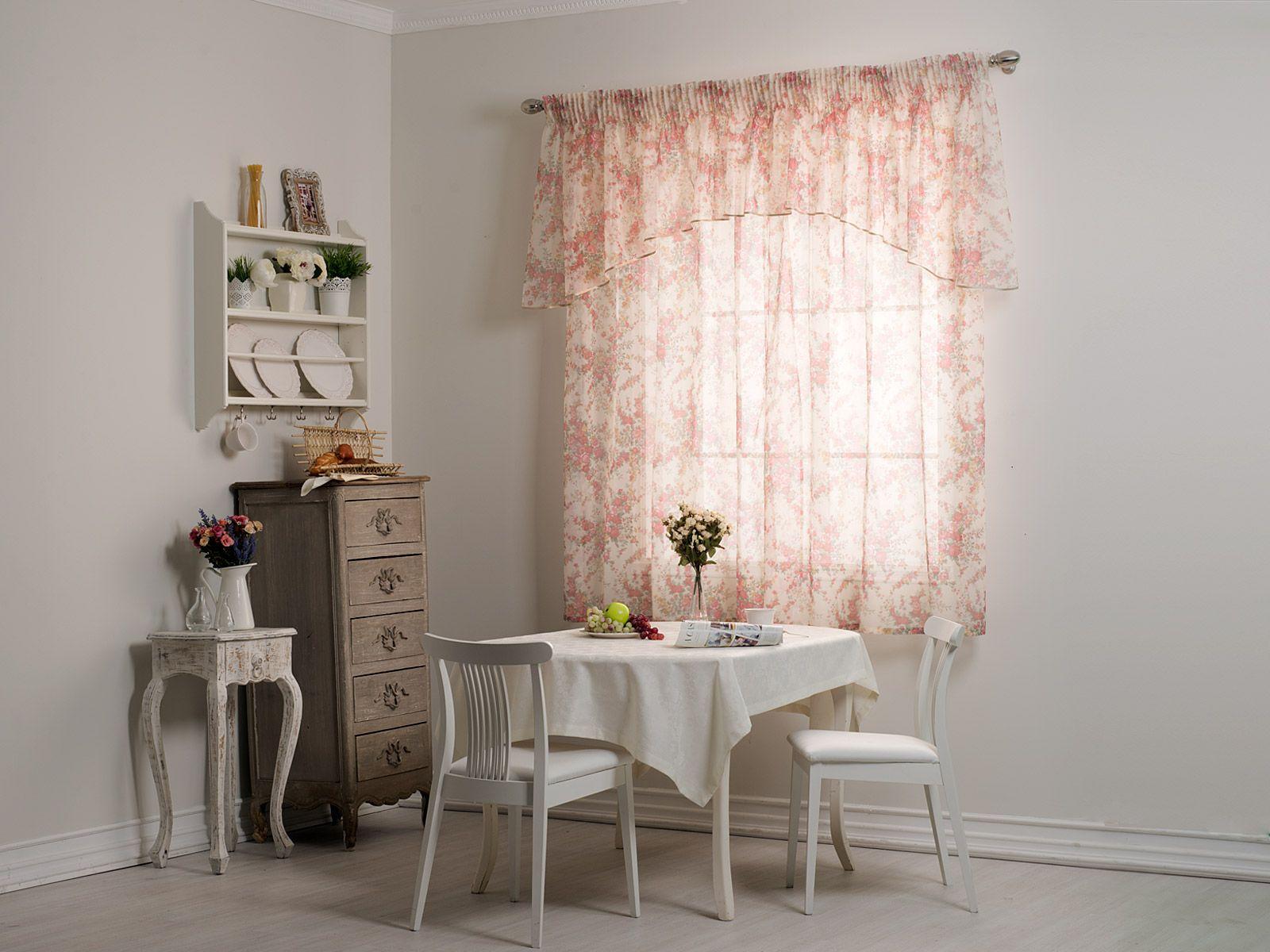 Короткие розовые шторы