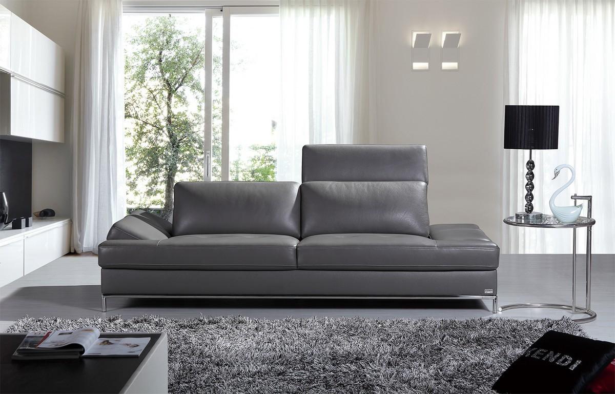 Серый диван из экокожи