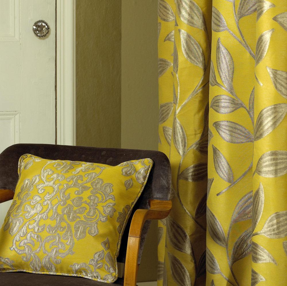Желтые шторы с серебром
