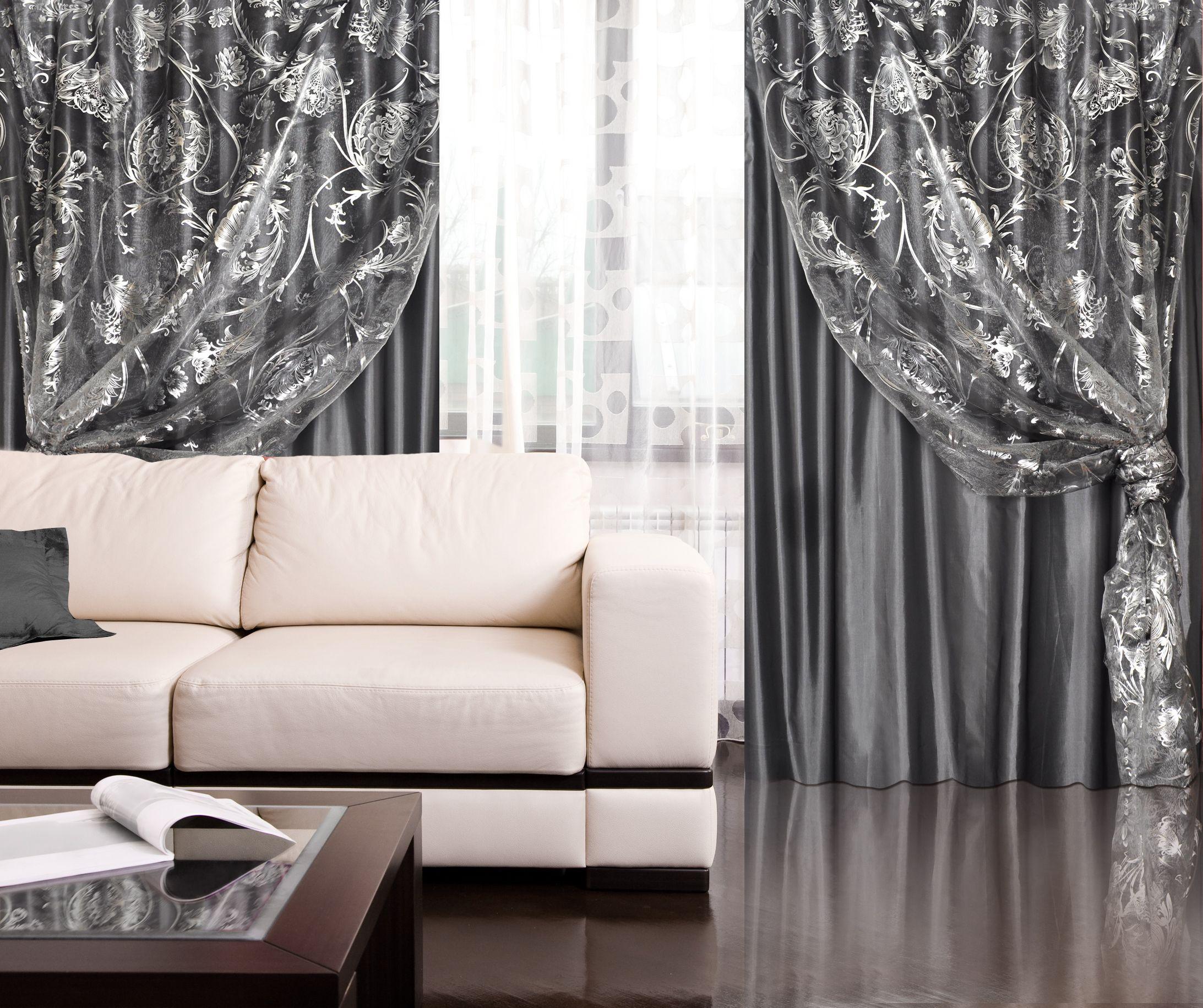 Серые шторы с серебряным декором