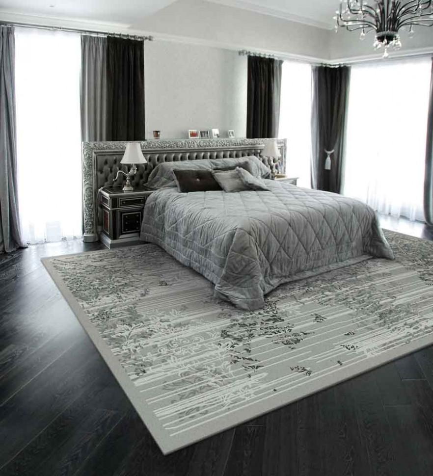 Серый ковер в спальню