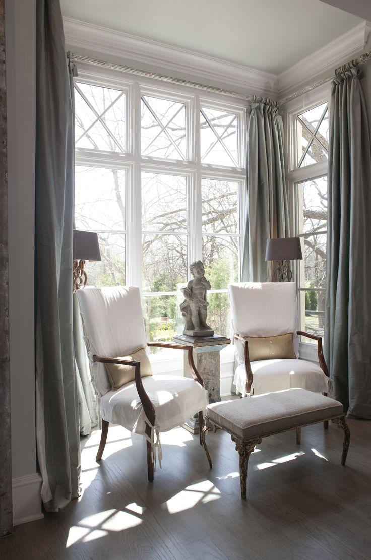 Серые шторы в стиле шебби-шик
