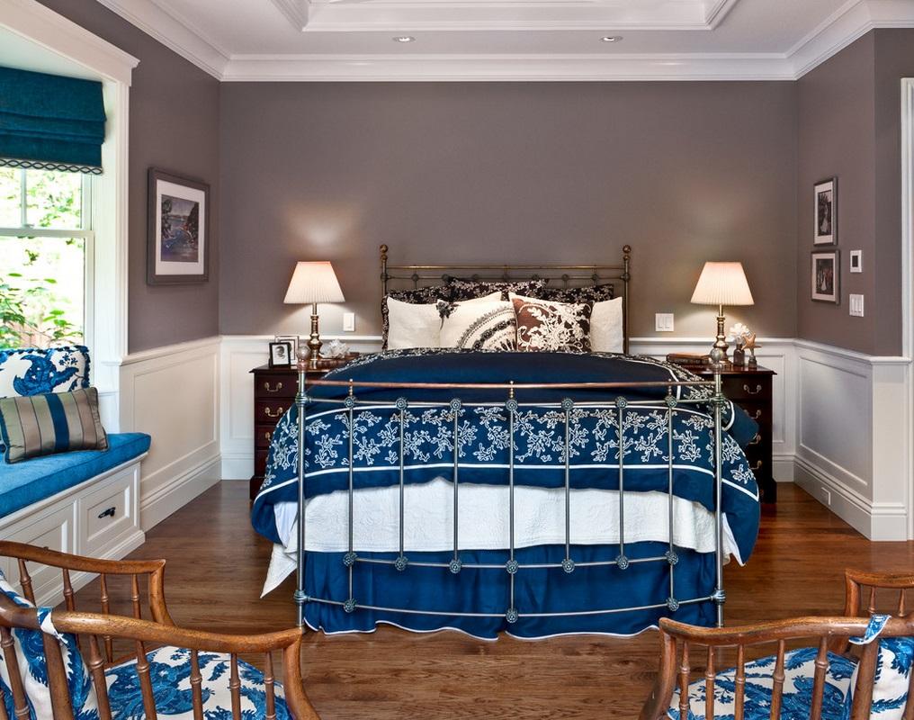 Серо-синяя спальня