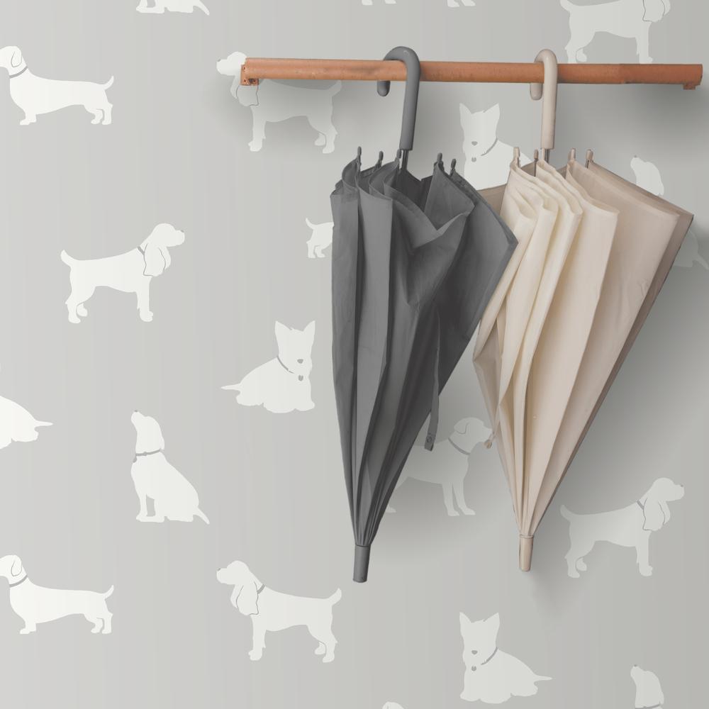 Серые обои с рисунком собак